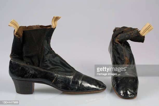 Wedding boots, Belgian, 1871. Artist Unknown.