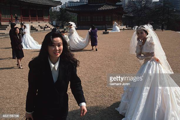 Wedding brides being photographed at Toksugung Palace near City Hall in Seoul
