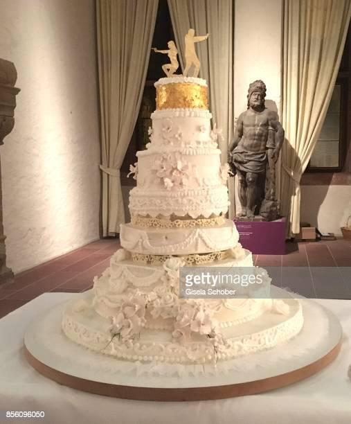 Wedding cake during the church wedding of Erdogan Atalay and Katja Ohneck at Heidelberg Castle on September 30 2017 in Heidelberg Germany