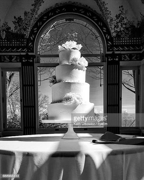 Wedding Cake On Table In Mansion