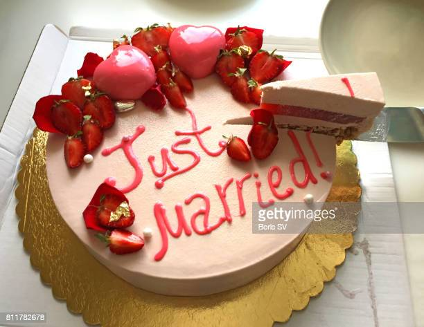 Wedding Cake with Just Married Words