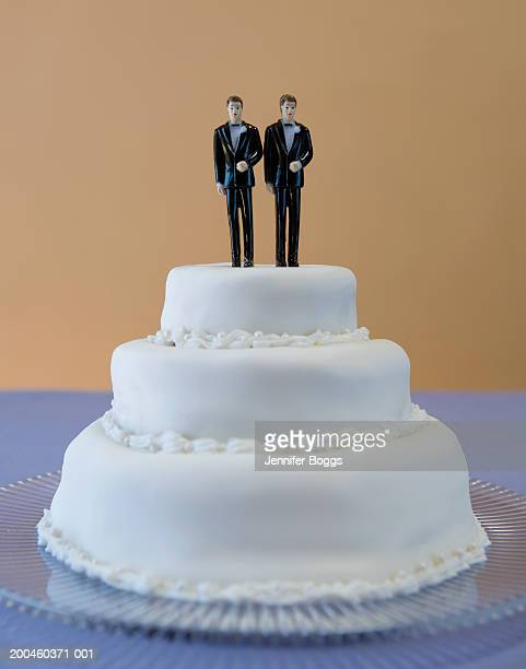 wedding cake with two grooms - wedding cake foto e immagini stock