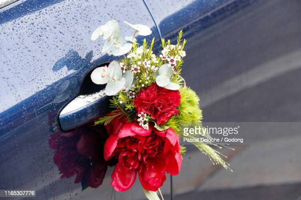 wedding car decorated with flowers.  france. - car decoration stock pictures, royalty-free photos & images