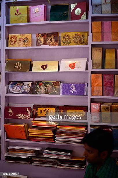 Wedding card market at Chawri Bazar on October 7 2014 in New Delhi India