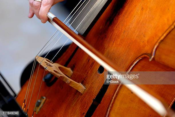 wedding cellist close up with bow - musical quartet stock photos and pictures