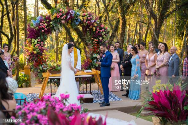 wedding ceremony at beautiful farm - wedding ceremony stock pictures, royalty-free photos & images