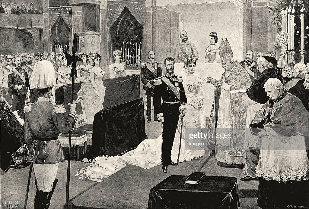 Wedding ceremony of archduke Karl Stephan and archduchess Maria Theresia. Hofburg-Chapel. Vienna. 28.2.1886. Newspaper-xylograph after a drawing by Wilhelm Gause.