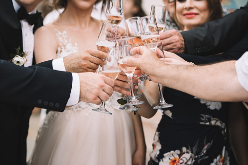 Wedding Champagne Toast - Stock image 893123282