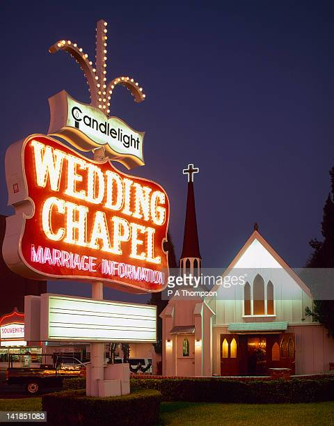 Wedding Chapel at night, The Strip, Las Vegas, Nevada, USA