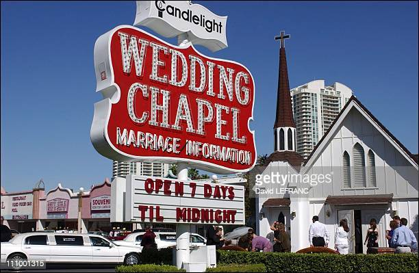 Wedding chapel at the 100th anniversary of The World's gambling in Las Vegas United States on October 04th 2004