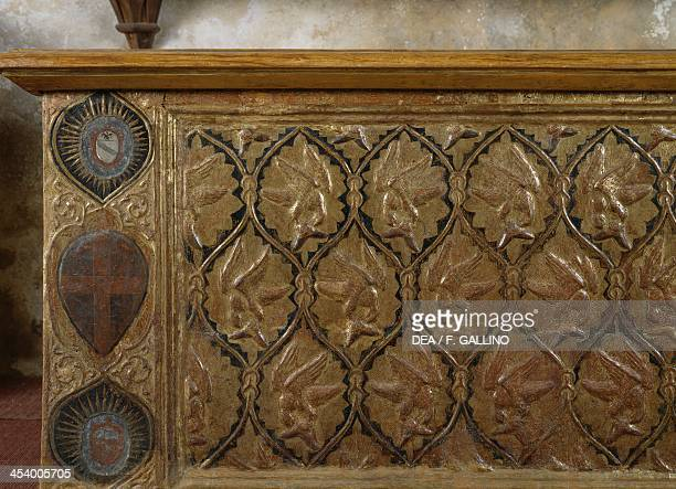 Wedding chest made of carved wood gilded and decorated with lozenges Casa Cavassa Saluzzo Piedmont Italy 15th century Detail Saluzzo Museo Civico Di...