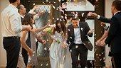 Wedding confetti bride and groom