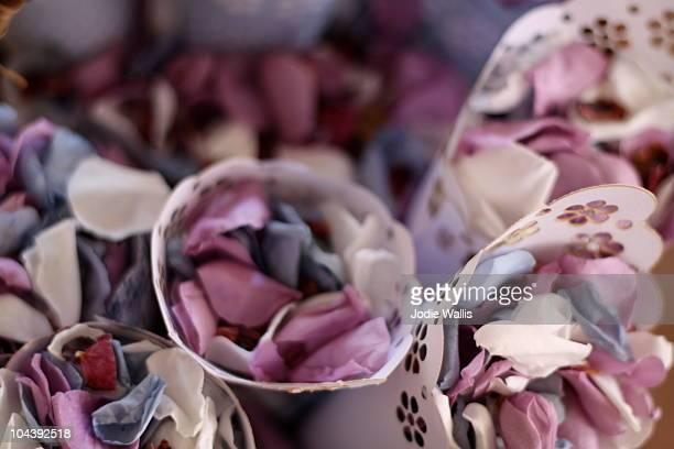 Wedding confetti in cones