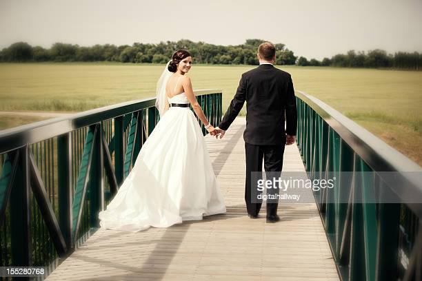 Wedding Couple Groom Holding Bride's Hand