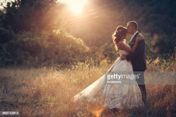 wedding couple in nature - newlywed stock pictures, royalty-free photos & images