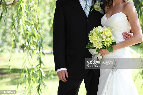 Wedding Couple with Green Orchids