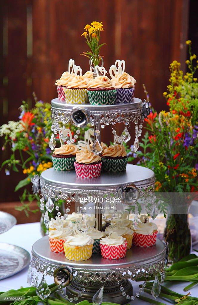 Wedding cupcakes display : Stock Photo