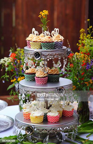wedding cupcakes display - utah wedding stock pictures, royalty-free photos & images