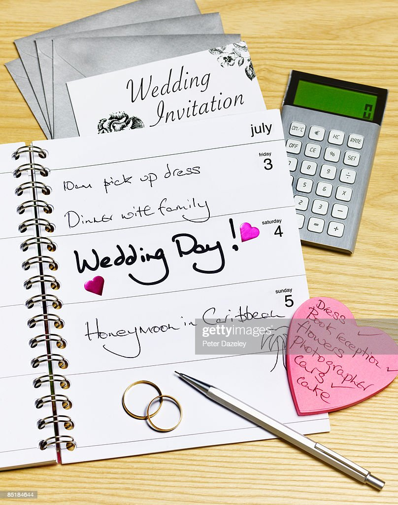 Wedding day in diary : Stock Photo