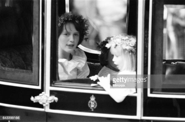 Wedding day of Prince Charles & Lady Diana Spencer, 29th July 1981, Pictured: Bridal attendants in royal procession, India Hicks & Clementine Hambro .