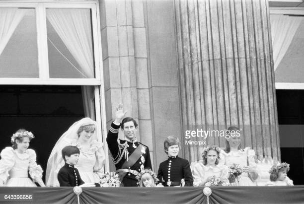 Wedding day of Prince Charles Lady Diana Spencer 29th July 1981 Pictured Royal couple with bridal attendants on balcony of Buckingham Palace London...
