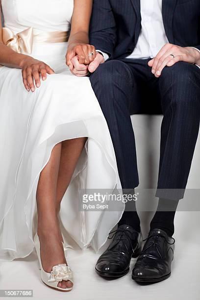 wedding day - peep toe schuh stock-fotos und bilder