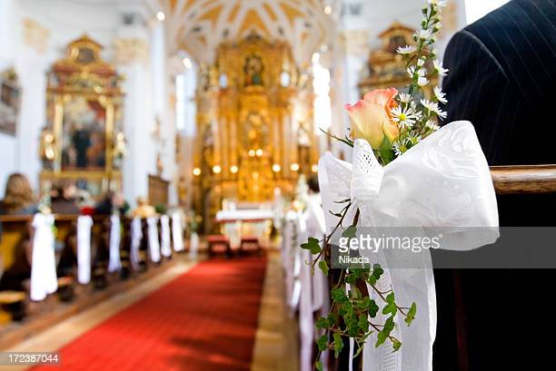 wedding day - church wedding decorations stock pictures, royalty-free photos & images