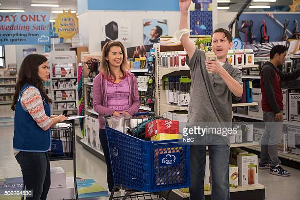 SUPERSTORE 'Wedding Day Sale' Episode 108 Pictured America Ferrera as Amy Nichole Bloom as Cheyenne Johnny Pemberton as Bo