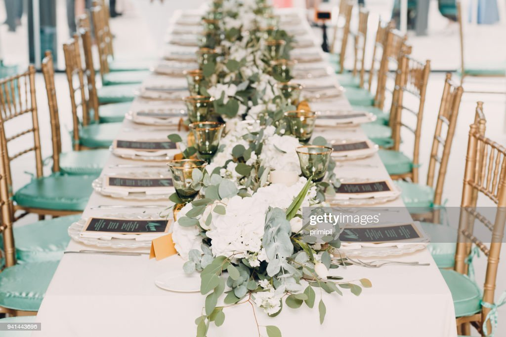 Wedding Decor With White And Green Colors Stock Photo Getty Images