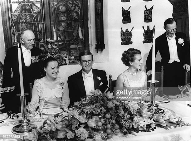 Wedding diner of Princess Margriet and Pieter van Vollenhoven, on January 10, 1967 in The Hague, Netherlands.