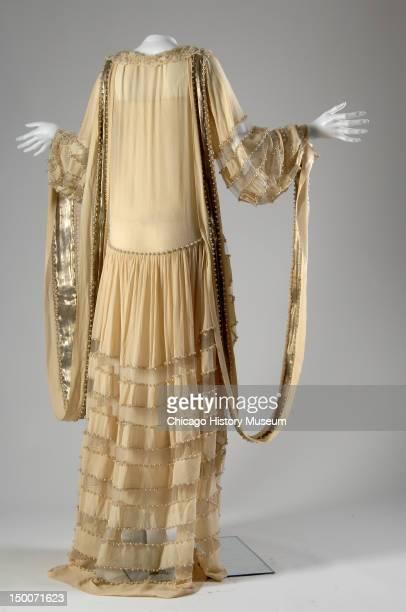 Wedding dress 1924 Silk crepe lace lame pearls net by Jeanne Lanvin