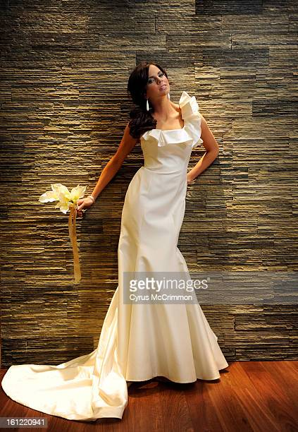 Wedding dress fashion on Thursday March 24 2011 from the Four Seasons Hotel in Denver with model Carlie from Donna Baldwin Romona Keveza silk...