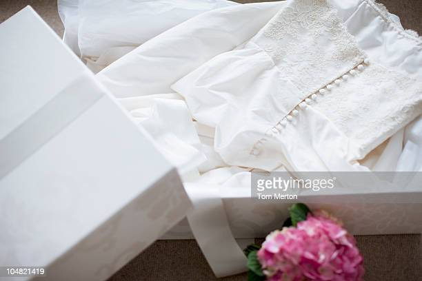 wedding dress in box - wedding dress stock pictures, royalty-free photos & images