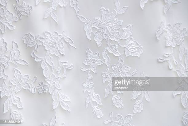 wedding dress lace detail - frilly stock photos and pictures
