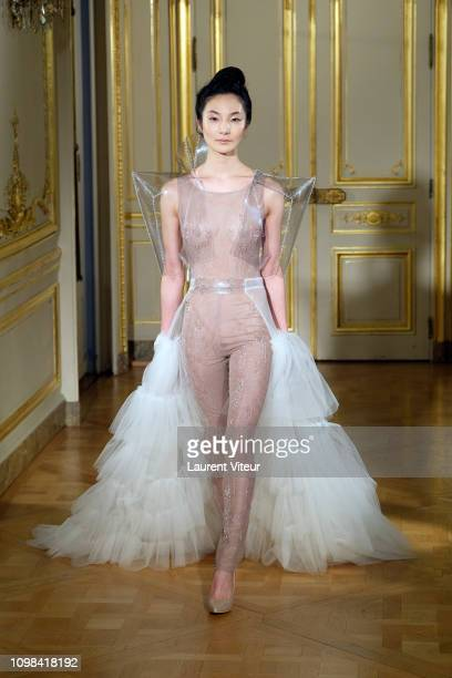 Wedding Dress model walks the runway during the Adeline Ziliox Spring Summer 2019 show as part of Paris Fashion Week on January 23 2019 in Paris...