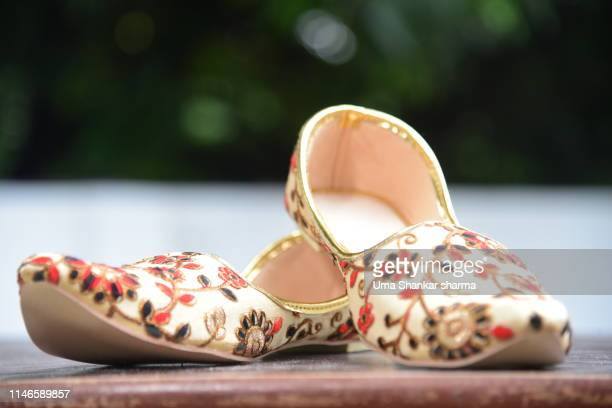 wedding embroidered designer shoes of groom - indian wedding stock pictures, royalty-free photos & images