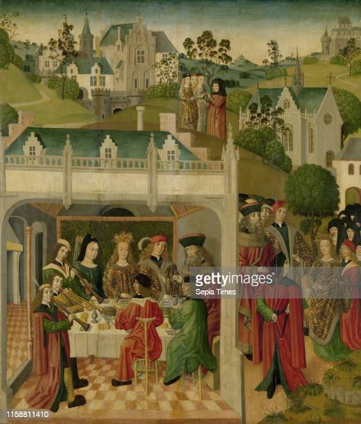 Wedding Feast of Saint Elizabeth of Hungary and Louis of Thuringia in the Wartburg, inner left wing of an altarpiece made for the Grote Kerk in...