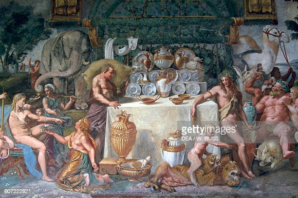 Wedding feast or Banquet of the gods detail fresco by Giulio Romano on the south wall of the Chamber of Amor and Psyche Palazzo Te Mantua Italy 16th...