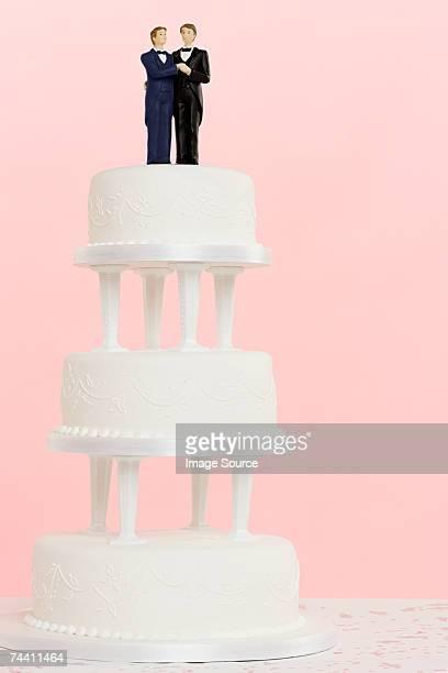 Wedding figurines on top of cake