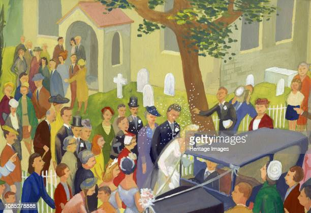 Wedding group in churchyard circa 1948 Couple getting married with guests throwing confetti Artist Shirley Markham