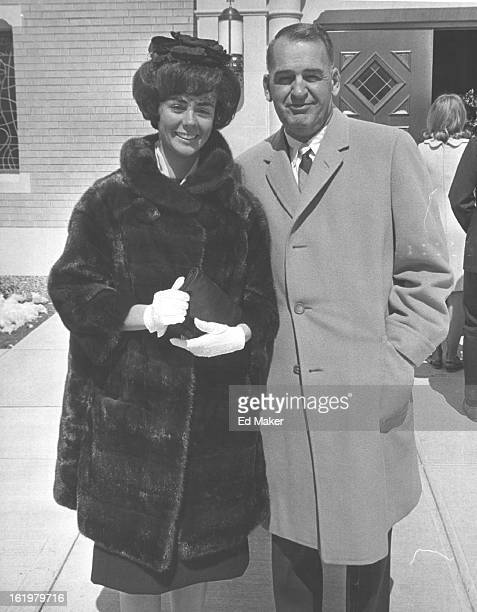 MAR 22 1965 Wedding guests arrive at church Mr and Mrs David Lawrence arrive for the nuptials of Sharon Anne O'Meara and Veeder Van Dorn on Saturday