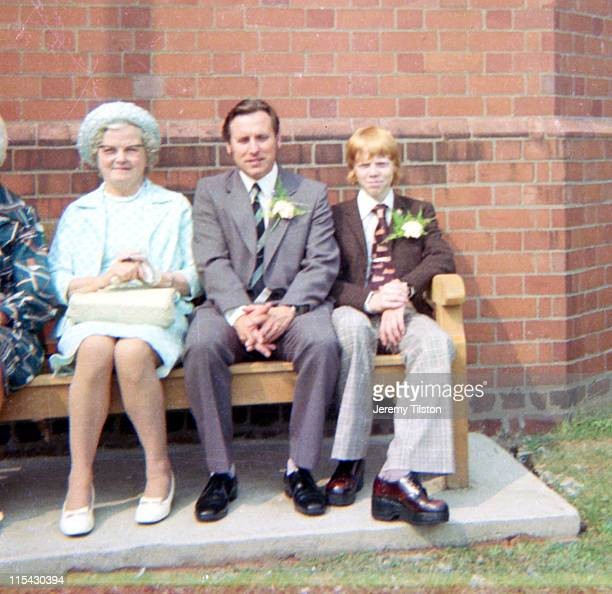 wedding guests - british granny stock photos and pictures