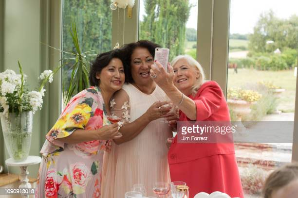 wedding guests taking selfie at reception - cocktail dress stock pictures, royalty-free photos & images