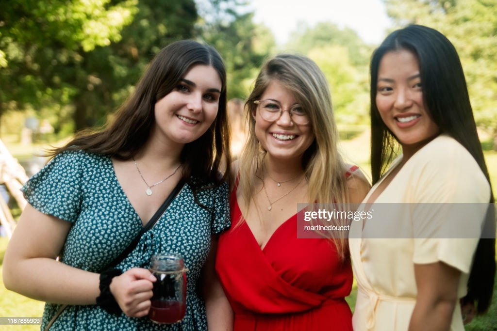 Wedding guests, young women portraits : Stock Photo