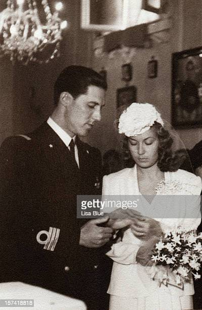 wedding in 1941.black and white. - retrato formal stock pictures, royalty-free photos & images