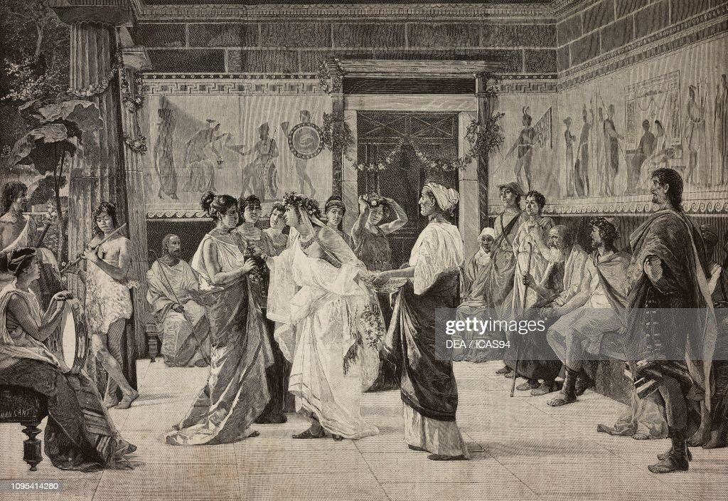 Wedding in ancient Greece, engraving : News Photo