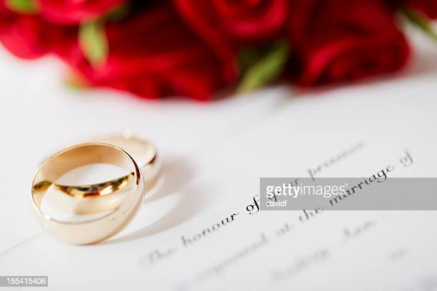 wedding invitation and rings - wedding invitation stock pictures, royalty-free photos & images