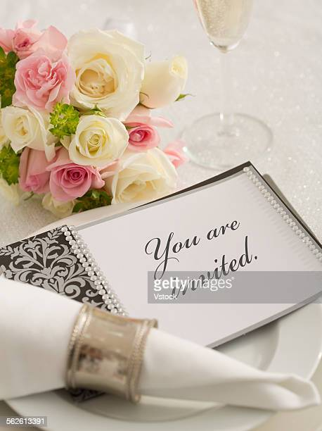 Wedding invitation on plate
