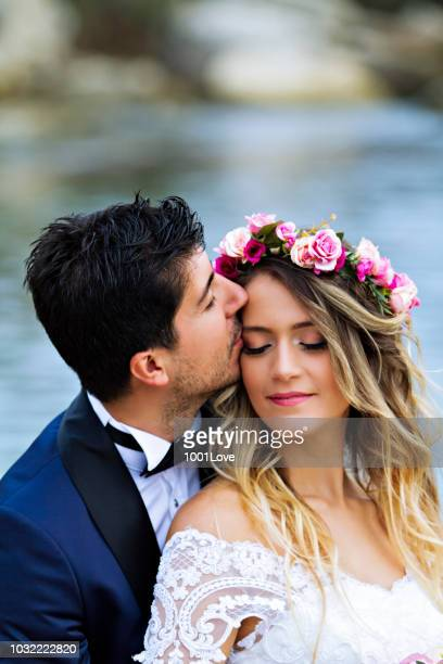 Wedding Kiss at beach.