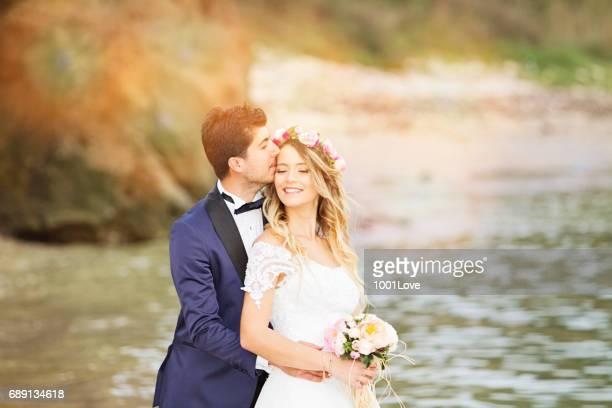 Wedding Kiss at beach.